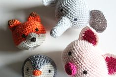 Free Crochet Patterns Animal Heads & Make your favorite cuddle cloth! : Free Crochet Patterns Animal Heads, Make your favorite Cuddle Cloth! Crochet Easter, Diy Crochet, Crochet Hooks, Crochet Amigurumi Free Patterns, Knitting Patterns, Double Crochet, Single Crochet, Animal Heads, Crochet Animals