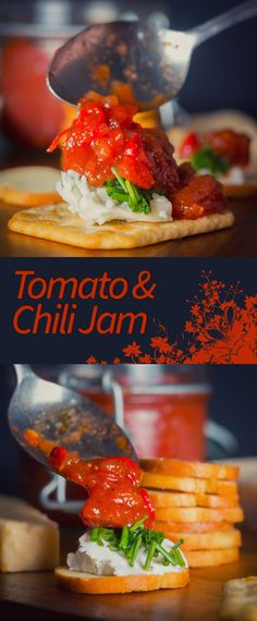 #Tomato and #Chili #Jam Recipe: This tomato and Chili Jam is so versatile, every thing from a topping to Crostini through to a glaze for pork or chicken.