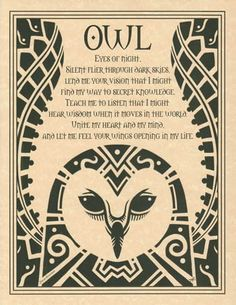 Embracing the spirit of the owl, this poster depicts a poetic prayer to the totem spirit of the owl, as written by Travis Bowman , within the upswept wings of a wondrous owl design created by Eliot Al