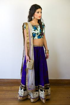 blue and white floral lengha