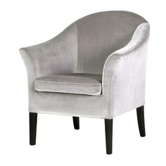 Deauville Silver Velvet Chair with Black Legs
