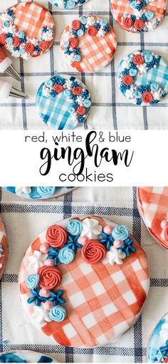 Red, White and Blue Gingham Cookies