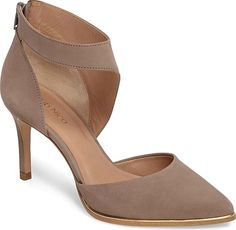 Klub Nico Women's Shoes in Taupe Nubuck Leather Color. A curving cutout strap wraps the ankle in a d'Orsay pump that strikes a perfect balance between classic elegance and modern chic. The sleek pointed toe is traced in metallic trim for a subtle shine from board room to the ballet. #fashion #KlubNico #taupeshoes #shoes #footwear #style