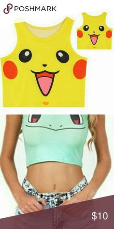 Pikachu Crop Top New crop tank made of Cotton Blend.  Top measures 15.5 inches from top of shoulder to bottom hem. Fits size Regular 0-4, bust measures 28 inches. Material is stretchy. New still in the package. Tops Crop Tops