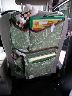 Organizer for the back of the seat in the car for long trips.