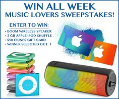 You can win these items at Win All Week.  • ULTIMATE EARS BOOM WIRELESS SPEAKER/SPEAKERPHONE ($199.95 VALUE) • 2GB IPOD SHUFFLE ($49 VALUE – PICK YOUR FAVORITE COLOR) • $50 ITUNES GIFT CARD! The Grand Prize Winner will be announced on October 1st, 2014. This is a new one to me – want to give it a try? http://ifreesamples.com/music-lovers-sweepstakes/
