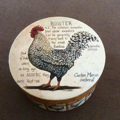 Rooster Round storage hat box Cardboard with designs by HappyLilac
