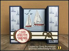 Stampin' Up Sailing Home Bundle Sneak Peek – Cindy Lee Bee Designs Masculine Birthday Cards, Birthday Cards For Men, Masculine Cards, Fun Fold Cards, Folded Cards, Bridge Card, Nautical Cards, Nautical Theme, Retirement Cards
