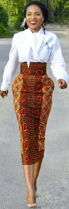African inspired - High waisted skirt outfit #elegant  #africanprint #afrocentric #africaninspired
