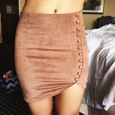 Rare! LF suede side button skirt I love love love this skirt! Color is tan and size M but fits more like a small ... The reason I'm selling super soft material never worn out   Fits 25-27best LF Skirts Mini