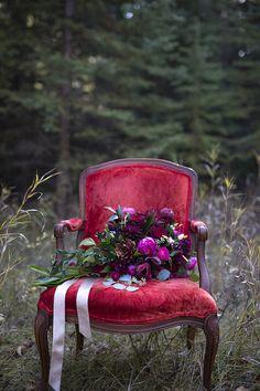 Wedding Bouquet Floral Arrangement | Moody Romantic Marsala Magenta Color Tones |