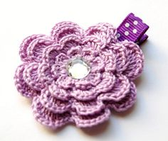 Light Purple Crochet Flower Hair Clip