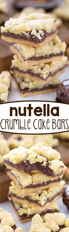 Nutella Crumble Cake Bars - this easy cake mix recipe is a bar cookie ...