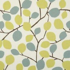 Nissa - Wasabi - White cotton fabric with modern joining leaf branch pattern in green and blue