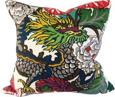 Schumacher Chiang Mai Dragon Alabaster Throw Pillow Cover - Decorative Pillow - Solid Linen Back - 14x18, 16x16, 18x18, 20x20, 22x22