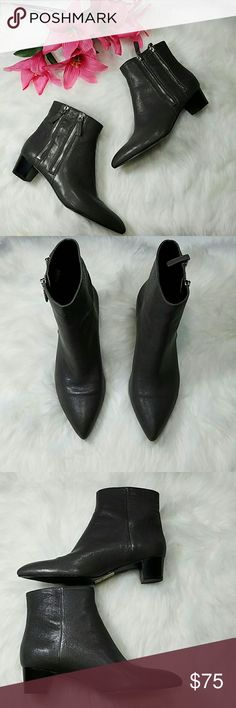 Nine West booties Gunmetal grey leather booties with zippers on the outside of each boot. 1 1/2 in short chunk heel. NWT.  Sz 7 1/2 M Nine West Shoes Ankle Boots & Booties