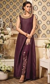 Chocolate Color Embroidered Silk Pant Style Suit #designerindiandress #indiandesignerwear Sport exuberance in this chocolate color embroidered silk pant style suit. That you can see some interesting patterns completed with lace and resham work.  USD $ 91 (Around £ 63 & Euro 69)