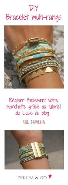 Retrouvez le tutoriel pour réaliser soi même un bracelet multi rangs façon hipanema de Lucie du blog The Camelia. Facile à faire, vous pourrez réaliser une manchette selon vos couleurs.