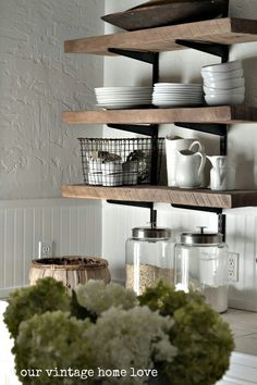 Rustic shelving - This is what I mean about displaying dishes and getting rid of those stupid cabinets!!!