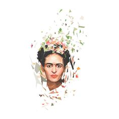 Frida Portrait 500mm x 500mm Framed Print ($75) ❤ liked on Polyvore featuring home, home decor, wall art, modern home accessories, modern wall art, white wall art, modern home decor and white home decor