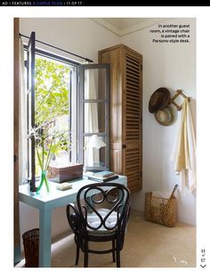 Shade of grey for French windows & doors. Touches of black (lanterns), splashes of sea green & Aqua & grey/beige striped linen ticking for cushions with a nautical air