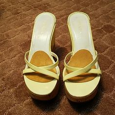 """""""●●●SALE PRADA ●●●WEDGES PRADA WEDGES MADE IN ITALY  CREAM COLOR WITH CORK 5 INCHES  SIZE 7.5 WORN BUT STILL IN REALLY GOOD CONDITION Prada Shoes Wedges"""