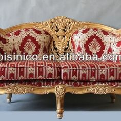 Source Luxury royal wooden hand carving living room red fabric sofa set on m.alibaba.com
