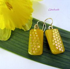 Bright and Sunny Lemon Yellow Dotted Dichroic by 2GlassThumbs