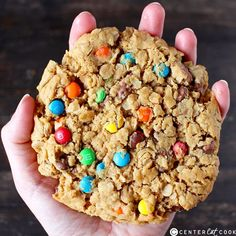 Jumbo Monster Cookies- peanut butter, oatmeal, chocolate chips, and M&M's make one delicious cookie! Gluten free, easy, and quick!