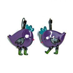 """Boucles d'oreilles """"Zoé"""" la poule violette"""