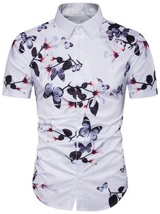 fd2ec799a20 Male Casual shirts 2018 summer fashion Hide button floral printing Fit  short Sleeve Beach shirt dress men EU US size Tops