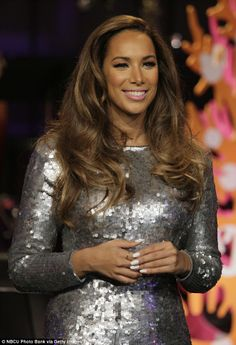 Glamorous: Musical guest Leona Lewis looks mightily festive on the live broadcast