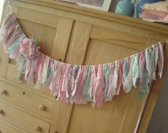 Sweet Shabby Chic Tattered Torn Vintage Pink, Green, Cream and Lace Fabric Rag Banner/Garland/Bunting/Baby/Wedding/Photo Prop Rag Garland, Bunting Garland, Garlands, Fabric Garland, Buntings, Vintage Soul, Vintage Pink, Rag Banner, Wedding Photo Props