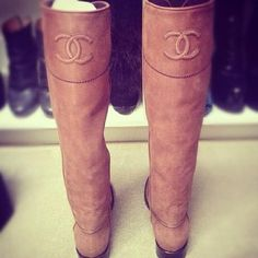 Chanel Tan Leather Boots