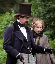 Ralph Fiennes as Charles Dickens & Felicity Jones as his young lover in, 'The Invisible Woman', Must see this.