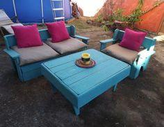 Réalisation d'un salon de jardin en palettes récup,Design,palette,pas cher,facile,fauteuil,meubles,esthétique,salon de jardin,canapé