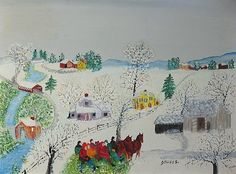 an old-fashioned Christmas - Grandma (Anna Robertson) Moses >> Good Fun Kallir Art Deco Cards, Grandma Moses, Christmas Mood, Vintage Christmas, Christmas Cards, Artwork Images, Primitive Folk Art, Naive Art, American Artists