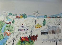 Grandma Moses Paintings | Good Fun Kallir, Oil by Grandma Moses (Anna Robertson) (1860-1961 ...