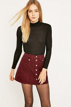 Urban Outfitters Button Front Burgundy Corduroy Mini Skirt