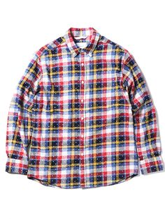 【thisisneverthat】CHECK & DOT BUTTON DOWN SHIRT(RED-YELLOW)