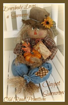 ***NEW*** Everybody Loves a Scarecrow - Clay-pot Scarecrow Pattern-Fall Scarecrow Craft Pattern,Scarecrow Pattern,Halloween Pattern,Craft Pa. Make A Scarecrow, Scarecrow Doll, Scarecrow Crafts, Scarecrow Ideas, Scarecrow Wreath, Autumn Crafts, Thanksgiving Crafts, Holiday Crafts, Primitive Scarecrows