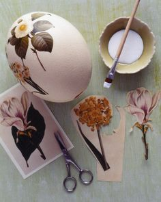 Such a cute idea for easter eggs! taking gloss medium or elmers glue and gluing pretty flower pictures onto eggs! so cute!