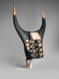 Africa | Bull mask from the Dogon people of Mali | Wood, fiber and pigment | ca. 19th - 20th century