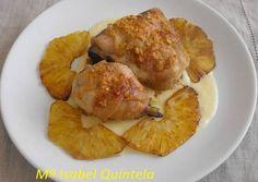 Muslos de pollo con salsa de piña.
