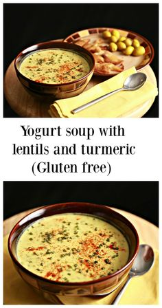 Yogurt soup with lentils and turmeric is very old recipe in Arabic cuisine. its creamy, full of nutrients and delicious too! And its gluten free! Read More by nutrizonia Halal Recipes, Lebanese Recipes, Turkish Recipes, Indian Food Recipes, Soup Recipes, Vegetarian Recipes, Cooking Recipes, Healthy Recipes, Persian Recipes