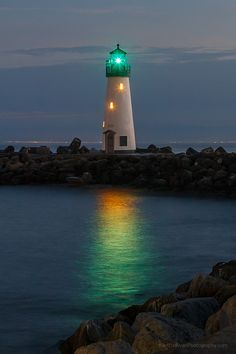 Twilight on The California Coast: Walton Lighthouse near Santa Cruz Harbor