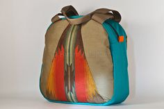 I love this bag :)  Shoulder bag in turquoise with pendleton triangles. Ready to ship.. $100.00, via Etsy.