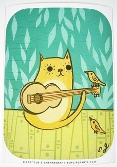 CAT/BIRD art print by Susie Ghahremani 5x7 kitten by boygirlparty, $20.00