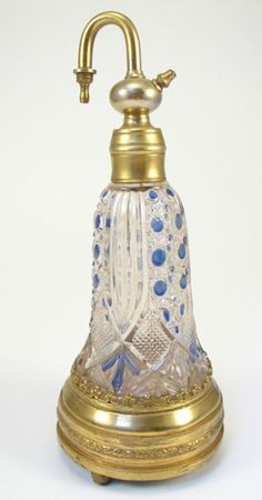 Antique French Perfume / Scent Bottle with music box base. Plays two tunes. marked Paris - HP