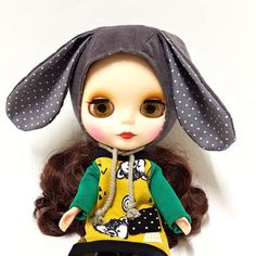 BONNET HAT Gray Bunny helmet for Blythe Doll by LockAndSew on Etsy